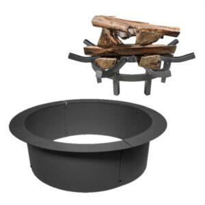 "Titan Great Outdoors 33"" Diameter Fire Pit w/ 24"" Wagon Wheel Fire Grate Combo"