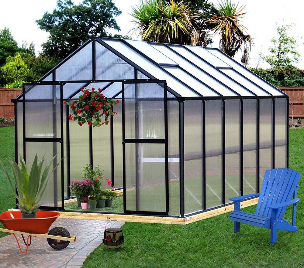 Monticello – 8′ x 12′ Black Polycarbonate Greenhouse