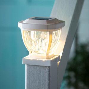 Plow & Hearth - Wavy Glass Solar Post Cap Lights