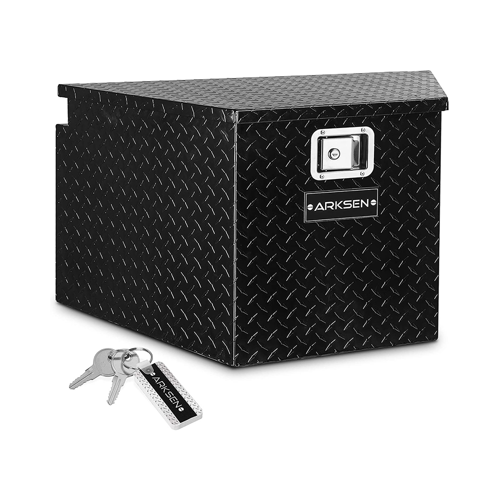 ARKSEN - 33-Inch Diamond Plate Aluminum Trailer Tongue Tool Box