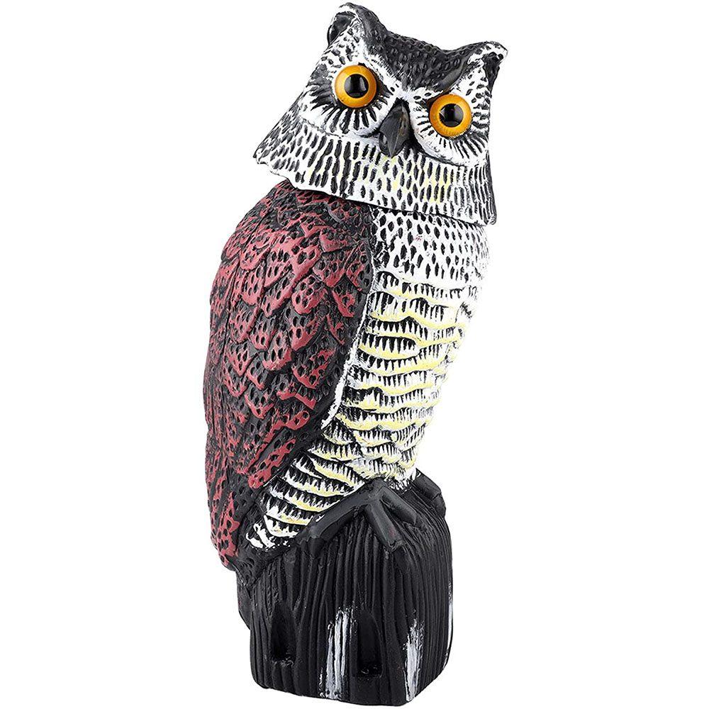 Besmon - Plastic Owl Scarecrow Sculpture with Rotating Head