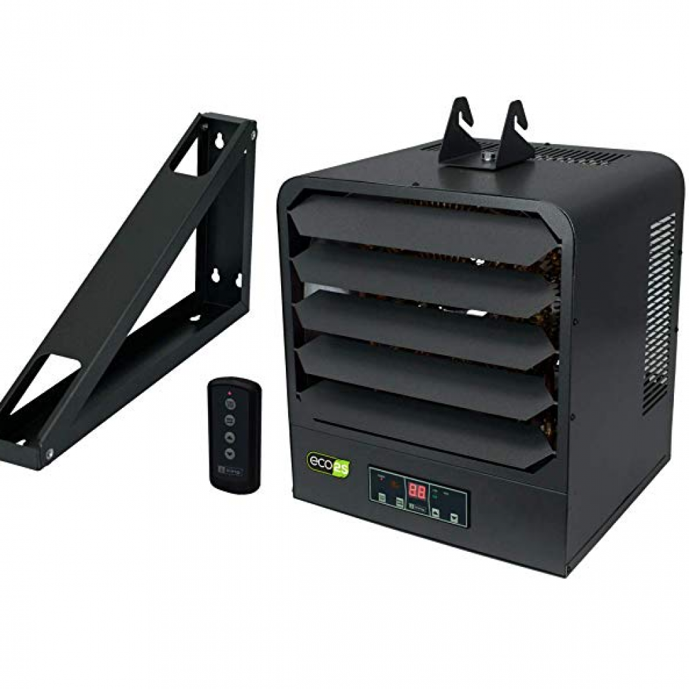 KING KB2405-1-B2-ECO KB ECO2S 240-Volt 5000-Watt Garage Heater with Bracket, Thermostat and Remote Control, 5,000 Watt, Gray